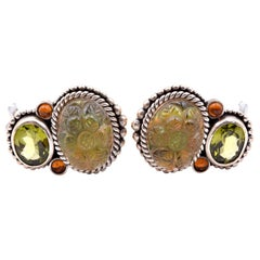 Stephen Dweck Sterling Silver Intaglio Rock Crystal, Peridot and Citrine Earring