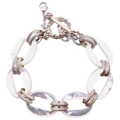 Stephen Dweck Sterling Silver Mother of Pearl Link Bracelet