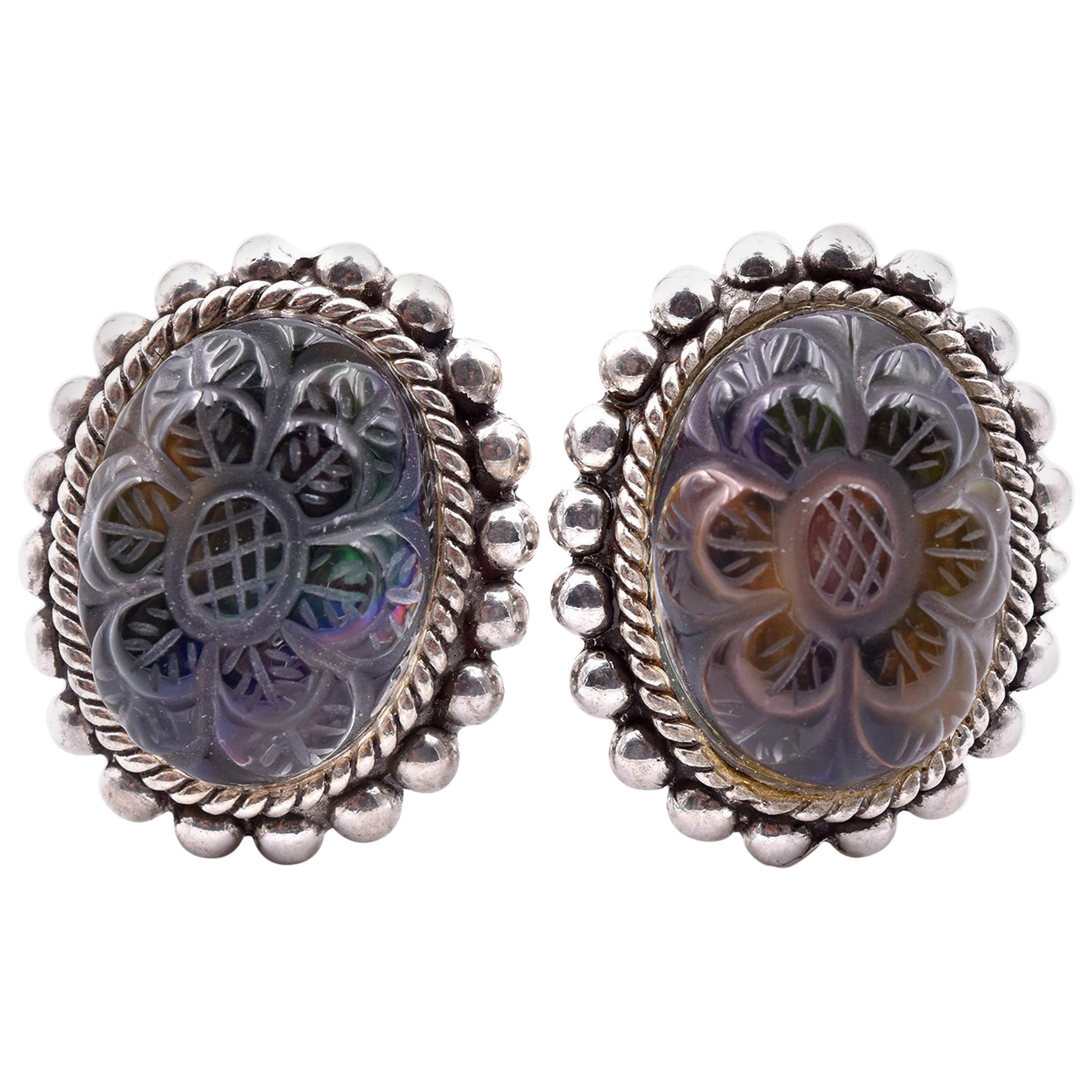 Stephen Dweck Sterling Silver Rock Crystal with Mother of Pearl Earrings