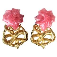 Stephen Dweck Sterling Silver Rose Quartz Serpent Snake Earrings - 1990s