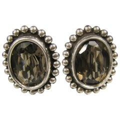 Stephen Dweck Sterling Silver Smokey Quartz Oval Bezel Earrings 1990s