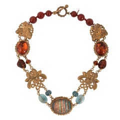 Stephen Dweck Sterling Silver Vermeil Amber Agate Chinese Style Necklace