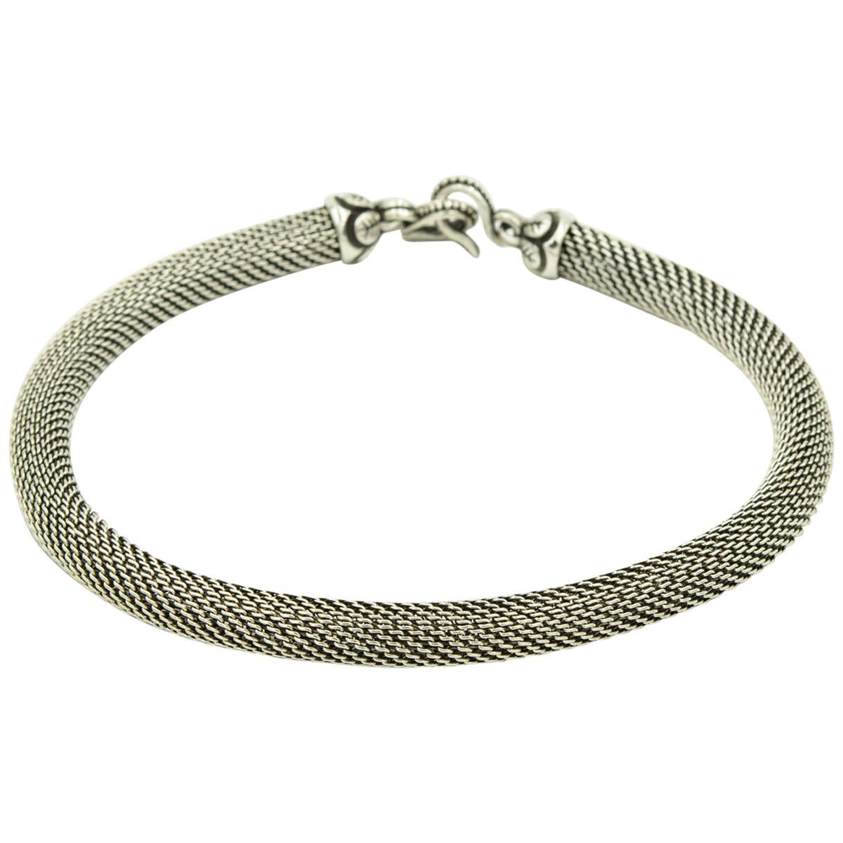 Stephen Dweck Sterling Silver Woven Mesh Double Hook Clasp Necklace