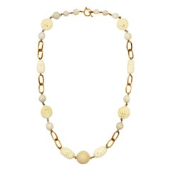 """Stephen Dweck White Agate and Wood Chain Link 37"""" Necklace"""