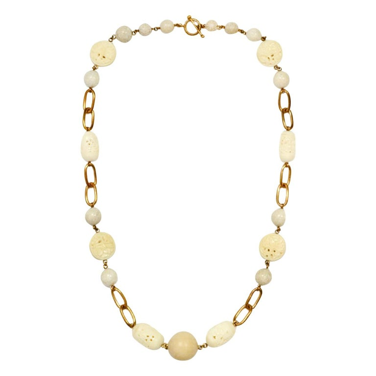 """Stephen Dweck White Agate and Wood Chain Link 37"""" Necklace For Sale"""