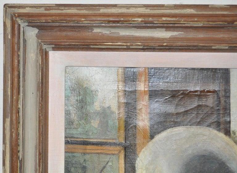 Studio Window - Gray Landscape Painting by Stephen Etnier