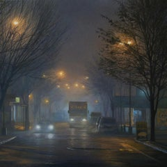 "Photorealist night landscape, ""Bedford Before BBQ"""