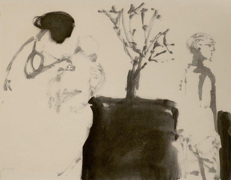 """Family Life,"" Stephen Greene, 1961 oil on paper - Painting by Stephen Greene"