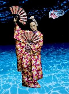 """Acrylic on Canvas painting of Geisha """"Beauty & The Empty Ocean"""""""