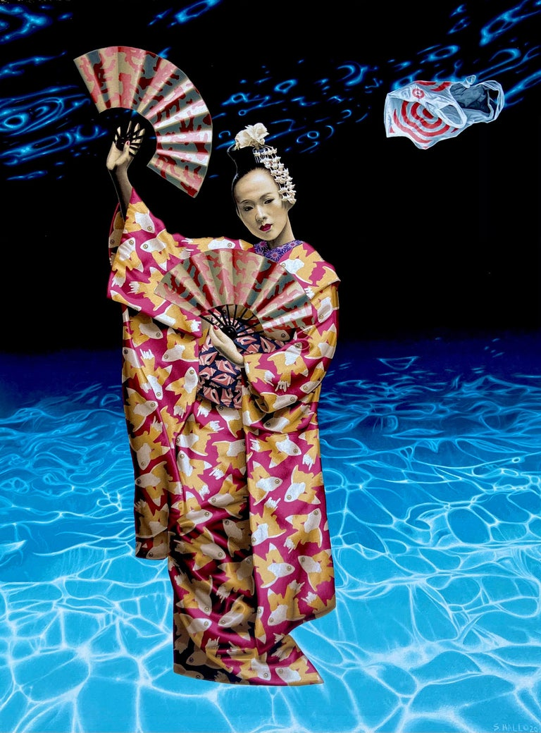 "Stephen Hall Figurative Painting - Acrylic on Canvas painting of Geisha ""Beauty & The Empty Ocean"""