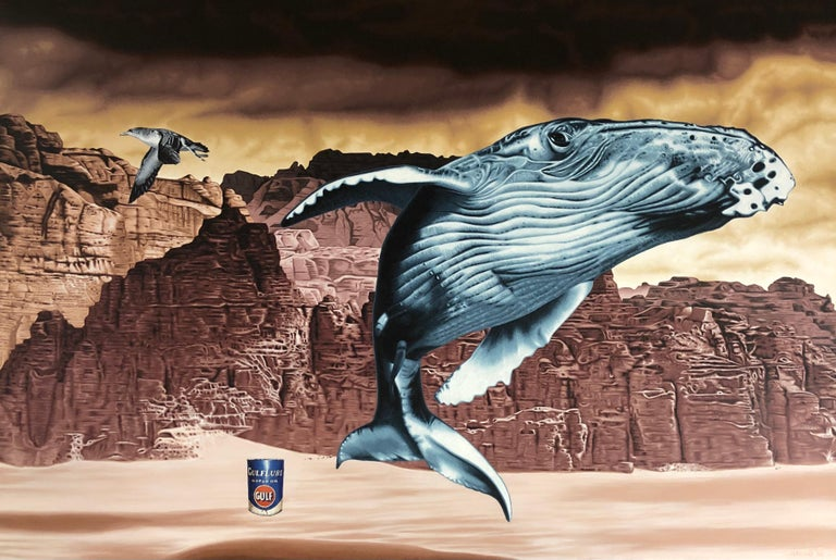 Stephen Hall Animal Painting - Acrylic on Canvas painting of Whale, Seagull and Oil Can: 'Looming Loss'