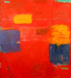 Tectonic Plates XVI  contemporary abstract oil painting, geometric RED