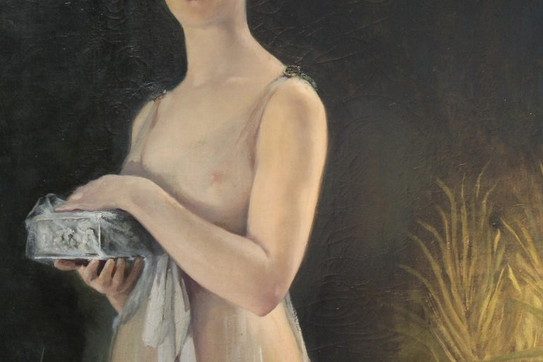 Art Nouveau Oil on Canvas Painting, Portrait of a Woman in a Landscape, 1885 For Sale 7