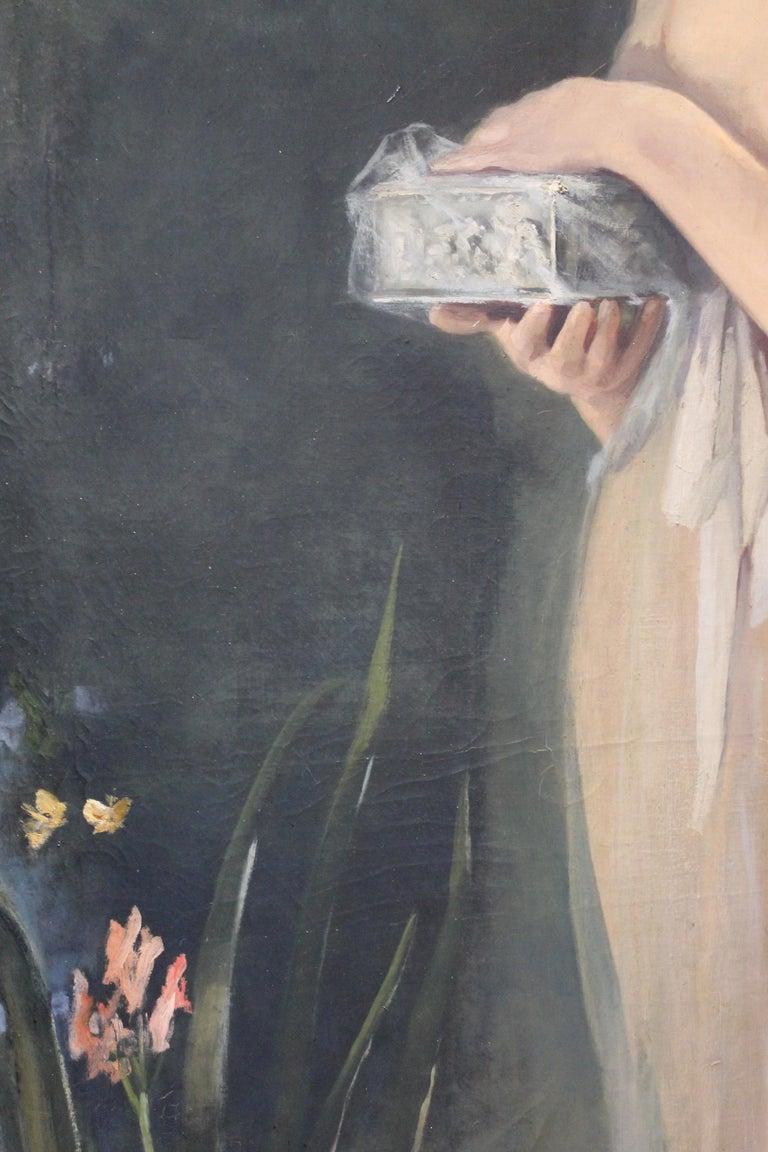 Art Nouveau Oil on Canvas Painting, Portrait of a Woman in a Landscape, 1885 For Sale 9