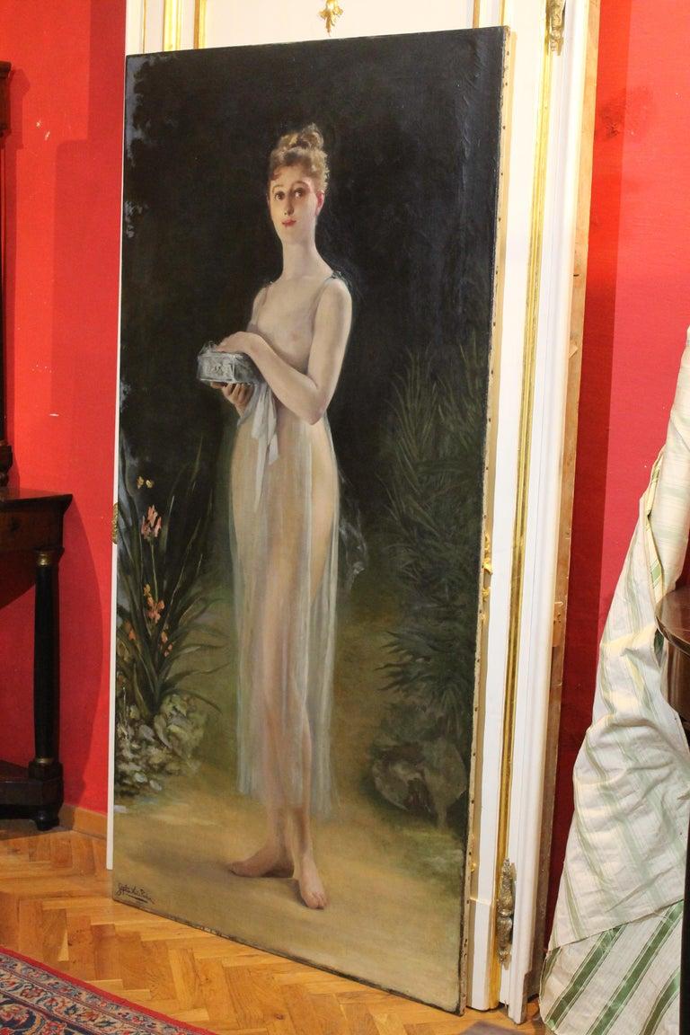 Art Nouveau Oil on Canvas Painting, Portrait of a Woman in a Landscape, 1885 For Sale 14