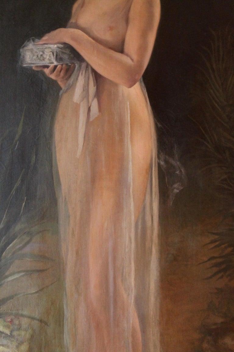 Art Nouveau Oil on Canvas Painting, Portrait of a Woman in a Landscape, 1885 - Black Nude Painting by Stephen Hills Parker
