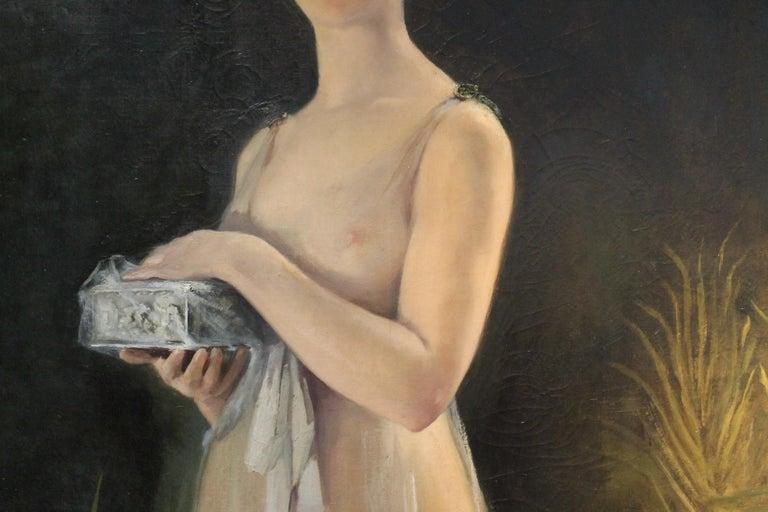 Art Nouveau Oil on Canvas Painting, Portrait of a Woman in a Landscape, 1885 For Sale 2