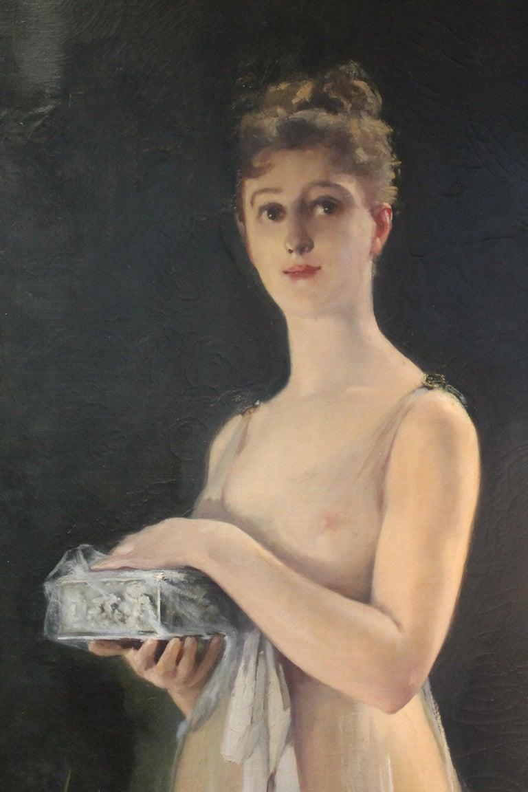 Art Nouveau Oil on Canvas Painting, Portrait of a Woman in a Landscape, 1885 For Sale 3