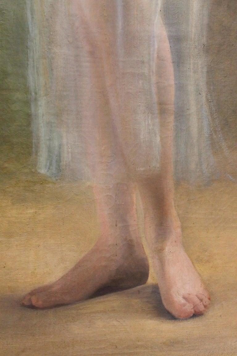 Art Nouveau Oil on Canvas Painting, Portrait of a Woman in a Landscape, 1885 For Sale 6
