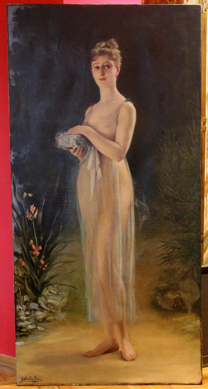 Stephen Hills Parker Nude Painting - Art Nouveau Oil on Canvas Painting, Portrait of a Woman in a Landscape, 1885