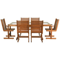 Stephen Hynson Post-Modern Handcrafted Walnut Dining Set w/Table & 6 Chairs