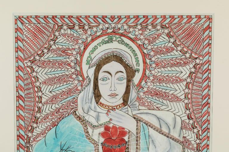 Folk Art Stephen JM Palmer Sacred Heart My Mother My Confidence Outsider Art Painting For Sale