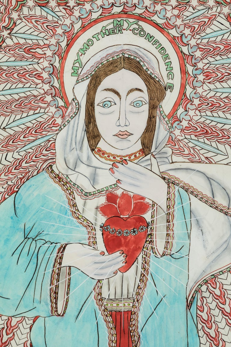 American Stephen JM Palmer Sacred Heart My Mother My Confidence Outsider Art Painting For Sale