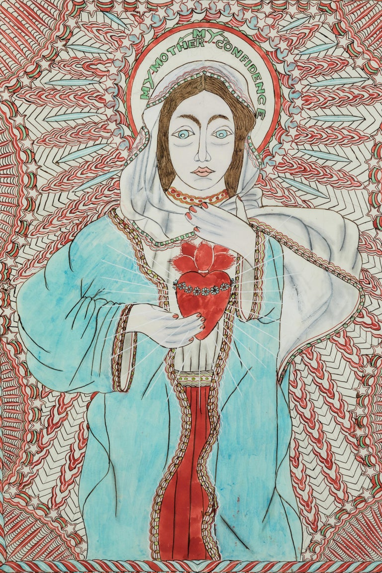 Hand-Painted Stephen JM Palmer Sacred Heart My Mother My Confidence Outsider Art Painting For Sale