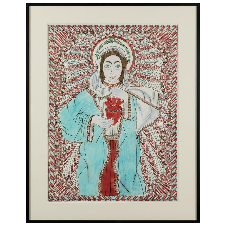 Stephen JM Palmer Sacred Heart My Mother My Confidence Outsider Art Painting For Sale