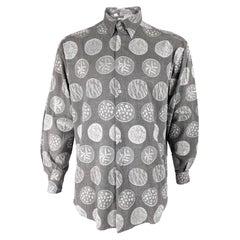 Stephen King Vintage Mens Grey Jacquard Fabric Long Sleeve Shirt