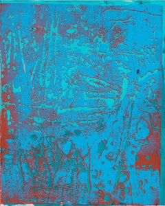 P16-0919, Large Vertical Abstract Painting in Bright Blue, Light Red, Mint Teal