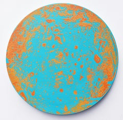 P20-0604, Circular Abstract Painting in Bright Turquoise Blue, Yellow Orange