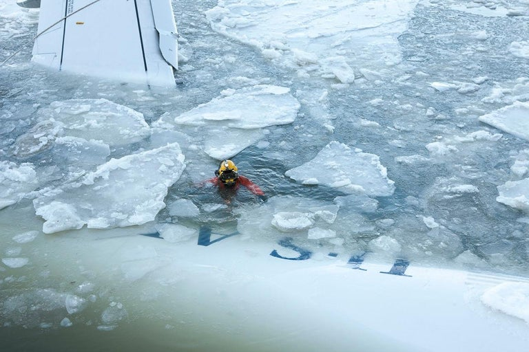 """Stephen Mallon Abstract Photograph - """"Diver in Icy Water"""" Edition of 5"""