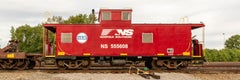 """Red Caboose, Contemporary color photograph """"NS 555608 Caboose"""" limited ed."""