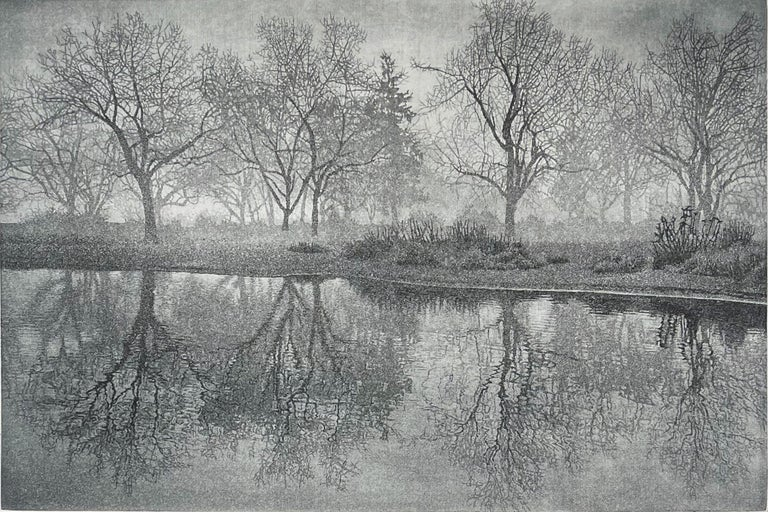 Signed, titled and numbered aquatint print, Printed on Arches Cover Paper. A gentle fog descending on Lake Whatcon on a  December morning. A walking meditation.  This is a great example of McMillan's work. He takes his inspiration from the natural
