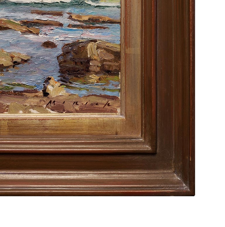 A Saturday Afternoon at the Tide Pools - Brown Landscape Painting by Stephen Mirich