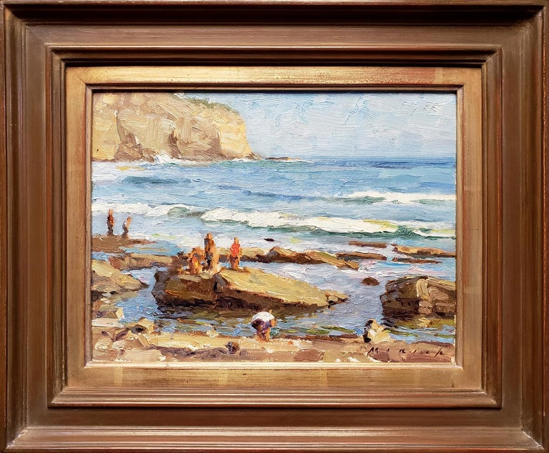 Stephen Mirich Landscape Painting - A Saturday Afternoon at the Tide Pools