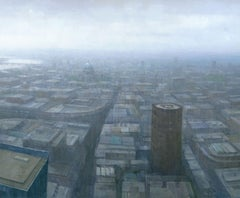 London Cityscape 2, Painting, Acrylic on Wood Panel