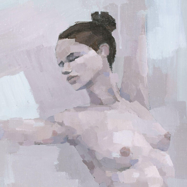 Standing Female Nude, Painting, Acrylic on Canvas For Sale 2