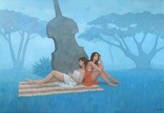 The Blue Garden, Painting, Acrylic on Canvas