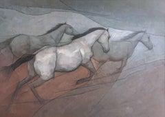 Wild White Horses, Painting, Acrylic on Canvas