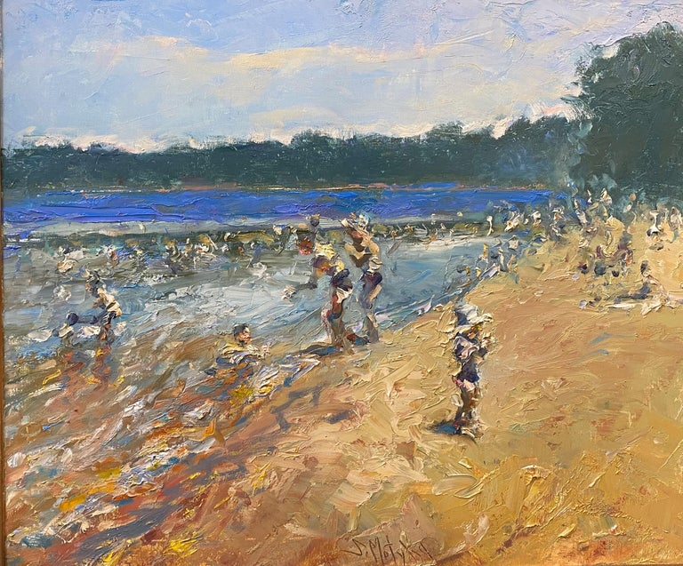 Swimming at Lincoln Woods - Painting by Stephen Motyka