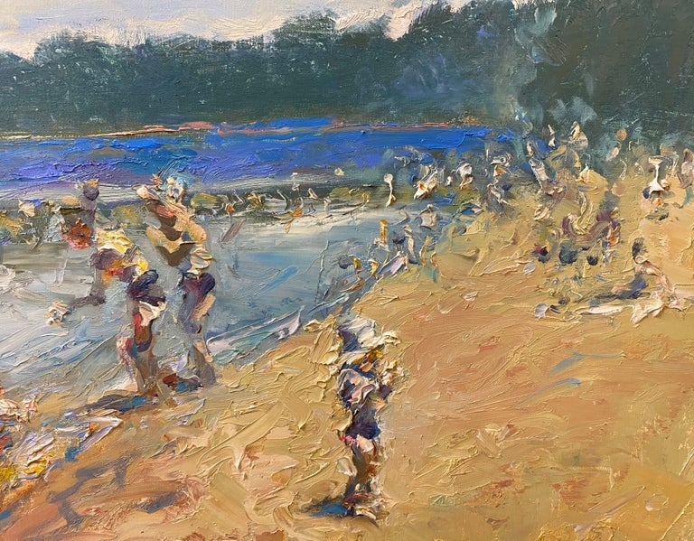 Swimming at Lincoln Woods - Brown Figurative Painting by Stephen Motyka