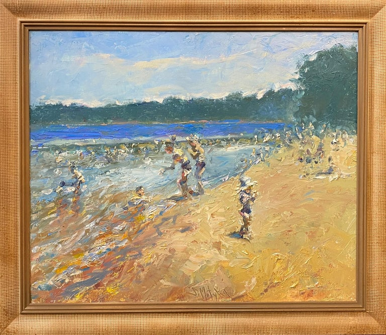 Stephen Motyka Figurative Painting - Swimming at Lincoln Woods