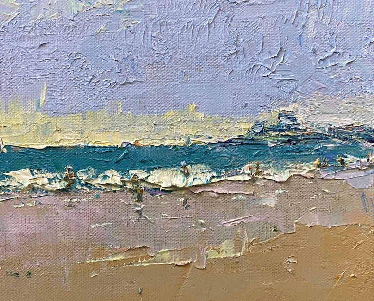 The Beach at Watch Hill - Brown Landscape Painting by Stephen Motyka