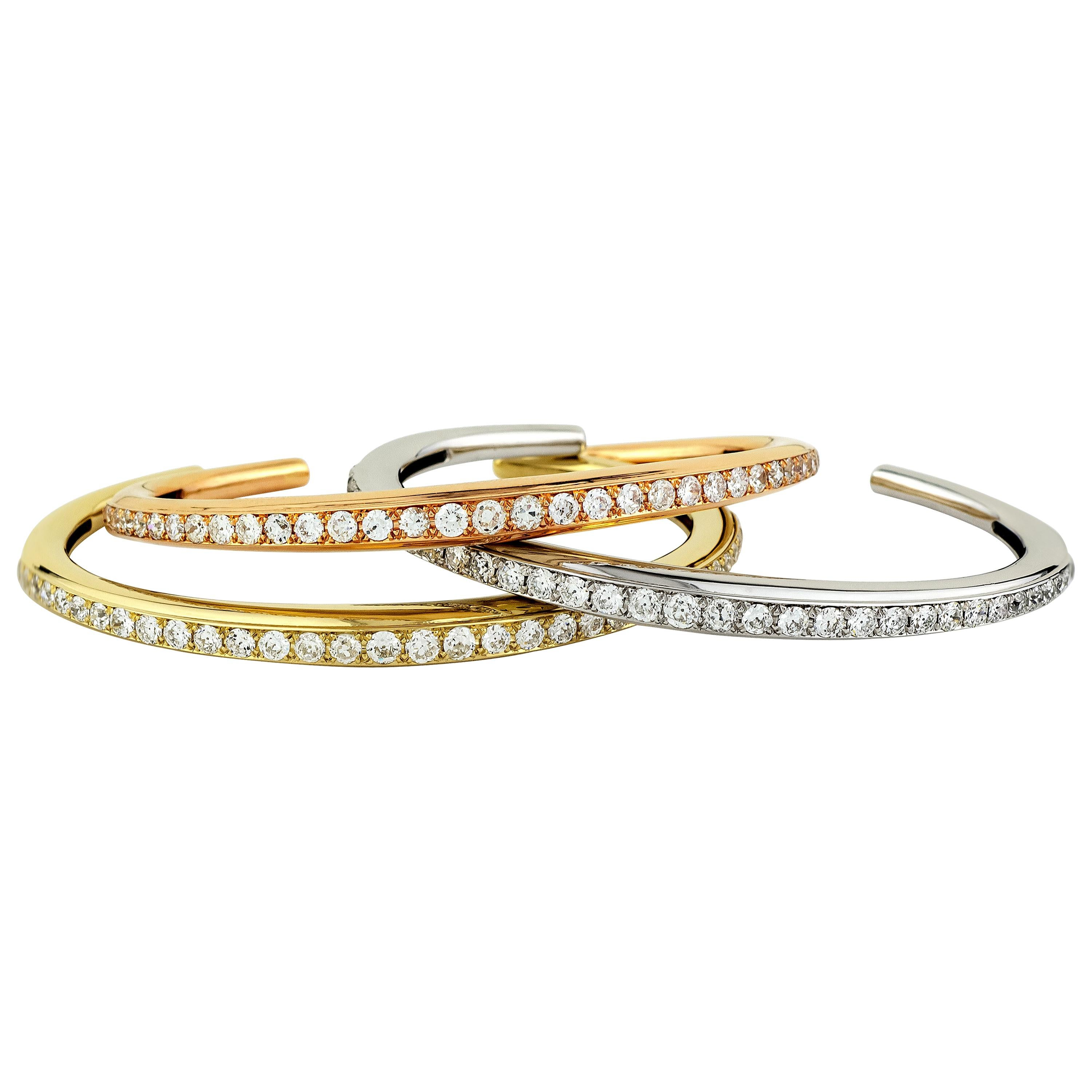 Stephen Russell Diamond and 18 Kt Multicolored Gold Bangles