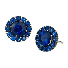 Stephen Russell 18 Karat Gold and Sapphire Earrings