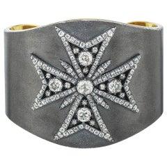 Stephen Russell 19th Century Diamond Maltese Cross Cuff Bracelet