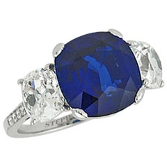 "Stephen Russell 8.09 Carat ""Royal Blue"" Ceylon Sapphire and Diamond 3-Stone Ring"
