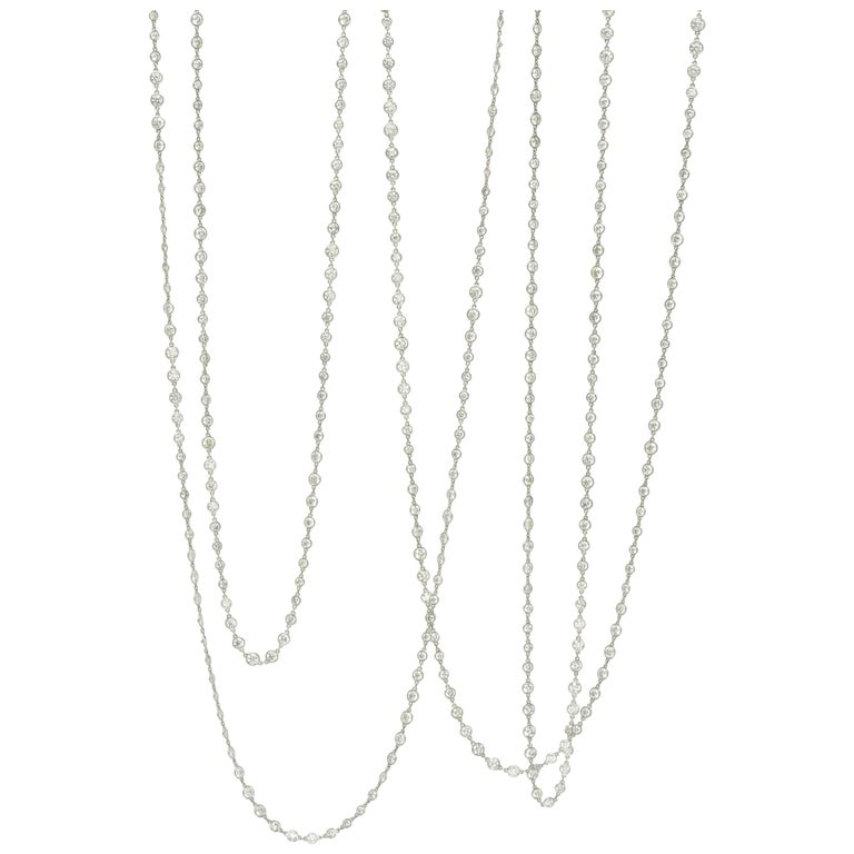 Stephen Russell Diamond Long Chain Set in Platinum For Sale
